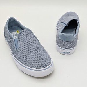 Vans Asher Blue Perforated Suede Deluxe Slip On's